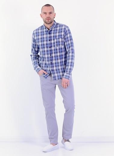 Cazador Slim Fit Uzun Kollu Ekose Desenli Gömlek Lacivert